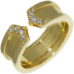 Ring Yellow Gold 10p Diamond C2 Ring 48 Us Size 4.5-5 Auth