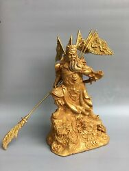 16.1 Antique Old Tibet Buddhism Bronze Gilt Guanyu Statue Asian Collections