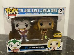 Funko Pop The Joker Beach and Harley Quinn Hot Topic Exclusive DC Super Heroes $39.95