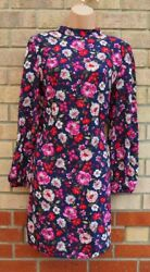 FLORENCE AND FRED BLUE PINK FLORAL HIGH NECK LONG SLEEVE SHIFT SMOCK DRESS 10 S GBP 24.99