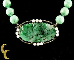 Imperial Jade Pearl 18k Yellow Gold Bead Necklace W/ Hand-carved Pendant 18