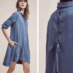 Anthropologie Cloth And Stone Tencel Farryn Laced Tie Back Shirt Dress Green Sz S
