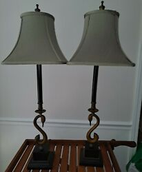 Pair Of Vintage Tall Swan Candlestick Buffet Table Lamps