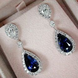 4.0 Ct Blue Pear Cut Diamond Post Screw Back Gifts Earring In Solid 925 Silver