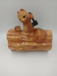 Vintage Brush Mccoy Squirrel On Log Cookie Jar Nut Canister Container