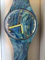 New Swatch Watch Moma Starry Night By Vincent Van Gogh Suoz335 Case/dust Jacket