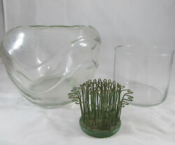 Blue Ribbon Flower Holder 3 And Two Vases Or Containers Lot