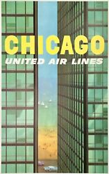 Original Vintage Poster Chicago United Air Lines Airline Travel Mies Galli Linen