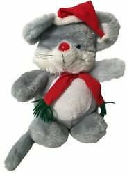 Vintage House Of Lloyd Christmas Melody Mouse Plush Musical Stuffed Toy Animal