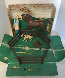 Vintage Marx Johnny West Jane West Horse Accessories Ranch Corral Fence Dog