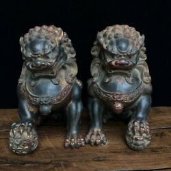 10.6 Antique Old Chinese Dynasty Bronze Gilt Foo Dog Lion Statue