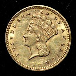 1873 1 Gold Dollar ✪ Au Almost Uncirculated ✪ G1 Open 3 Type T-3 ◢trusted◣