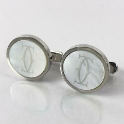 Silver925 Engraved Mother Of Pearl 2c Logo Round Cufflinks 050934