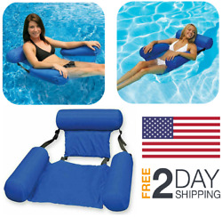 Inflatable Swimming Floating Chair Pool Seats Beach Water Bed Lounge Chairs Blue