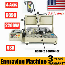 Usb Cnc6090 Router Engraver 4 Axis 2.2kw Spindle Engraving Machine+controller Us