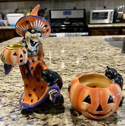 Fitz And Floyd Witch Hazel Short Candleholder 2003 Figure And Pumpkin Cat Candle