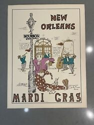 """1982 Luttrell Signed """" New Orleans Mardi Gras"""" Poster"""