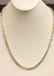 14k Solid Two Tone Gold Handmade Link Men's Chain/necklace 19 36 Grams 4.5mm