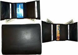 Lot Of 3 New Menand039s Leather Tri-fold Wallet Tan 12 Credits Card 2 Billfolds Bn