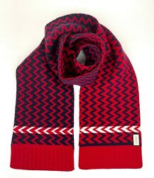 New Red/blue Wool Long Scarf With Zig Zag Pattern 550597 6468