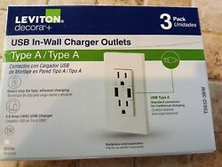 Leviton Decora 3pk 3.6a Usb Charger/tamper Resistant Outlets M02-t5632-3bw - New