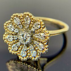 Antique Jabel 18k Diamond Flower Yellow And White Gold Ring Size 5