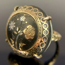 Antique 14k Ornate Flower Mourning Pietra Dura Button Yellow Gold Ring Size 6