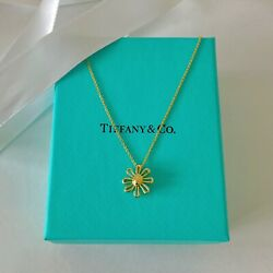 And Co. 18k Yellow Gold Daisy Flower Pendant Necklace 16 New W/packaging