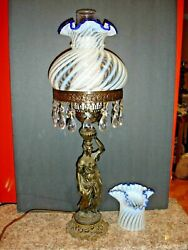 Fenton Old Set Of Lady Lamp And Vase Swirl Opalescent Cobalt Crest Glass.
