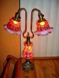 Fenton Cranberry Opalescent Daisy And Fern Double Adjustment Lamp, Few Lightning..