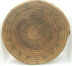 Old Navajo American Indian Coiled Round Wedding Basket 13 Wall Decor As Is