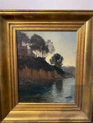Painting Antique School French Impressionist - View Brittany
