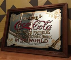 Rare Items Coca Cola Large Made Of Wood Vintage Pub Mirror Wall Frame Old