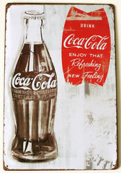 Tin Sign Coca Cola Bottle/fishtail Advertising American Miscellaneous