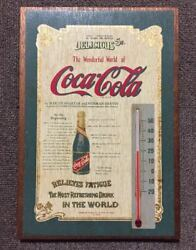 Rare Items Coca Cola Vintage Made Of Wood Signboard Thermometer Old American