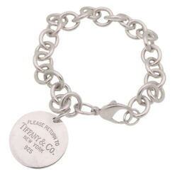 Tiffanyandco. Sterling Silver Please Return To Round Tag Charm Bracelet Women