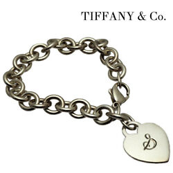 Tiffanyandco. Sterling Silver Initial Plate Heart S Tag Charm Bracelet Women