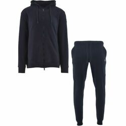Paul And Shark Mens Full Zip Tracksuit In Navy Blue Cotton With Logo - S