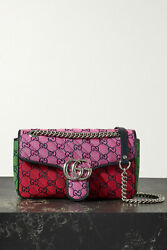 Gg Marmont Multicolour Small Quilted Jacquard Shoulder Bag, New With Tag