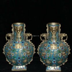 Pair 15and039and039 Bronze Gold Cloisonne Enamel The Character Fortune And Longevity Vase