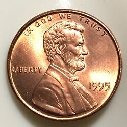 1995 Double Die Obverse Red Condition Lincoln Memorial 1 Cent Error