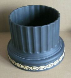 Giant Wedgwood Jasperware Black And Cane Yellow Column Planter Library Collection