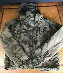 Bke Mens Jacket Coat Green Full Zip With Hood Cotton Slim Fit Size Large