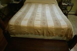Antique Hand Crocheted Embroidered Panels Peach Silk Bedspread Coverlet 73x86