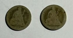 1887 And 1888 Seated Dimes 13179 Both Low Grade.