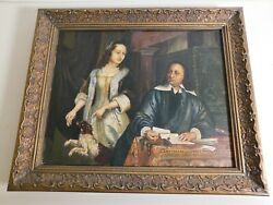 Antique Oil On Canvas Framed 20 X 16 With Hungarian Export Stamp
