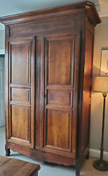 Large French Antique Fruitwood Louis Xv Armoire / 3 Shelf Cabinet Circa 1790
