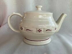 Longaberger Woven Traditions Tea Pot W/ Lid In Traditional Classic Red