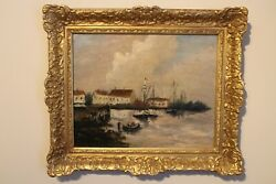 French School Of Art Oil On Canvas 19th Century French Harbour Scene
