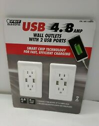 Feit Electric 2-pack Tamper Resistant Wall Outlet 120v, With 2 Usb Ports 4.8 Amp